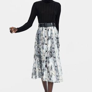 Zara Belted Snakeskin Print Midi Skirt